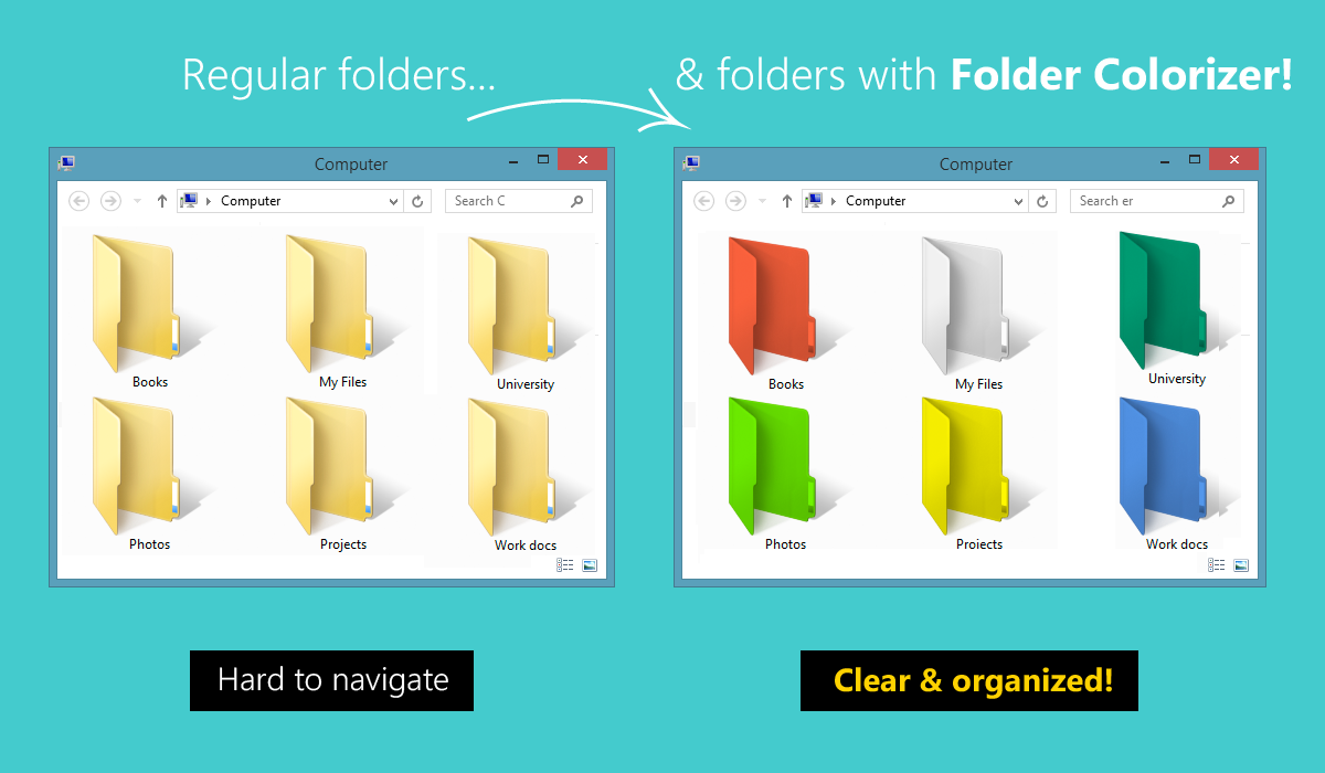 How to Change the Color of Window 7 and Windows 8 Folder