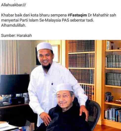Muak dengan cerita Tun Mahathir masuk Pas