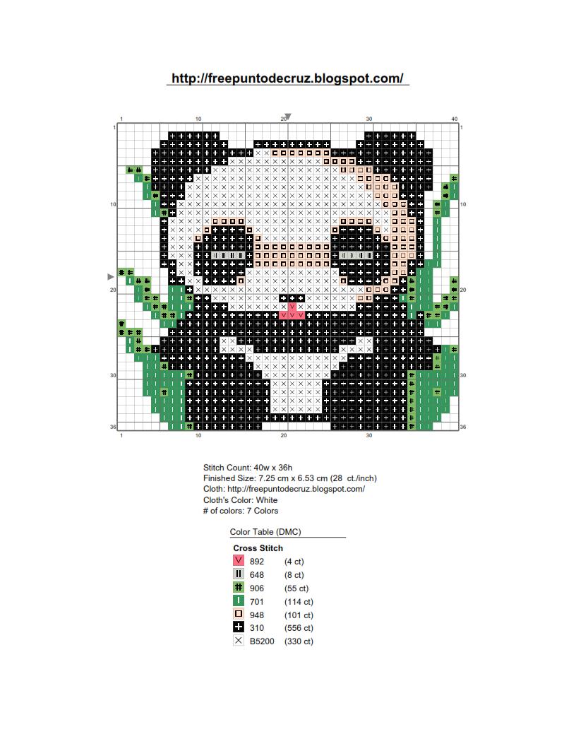 Dibujos Punto de Cruz Gratis: Oso panda en patrones punto de cruz