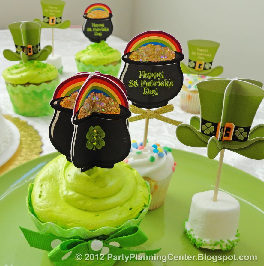 party planning center free printable st patricks day decorations cupcake toppers. Black Bedroom Furniture Sets. Home Design Ideas