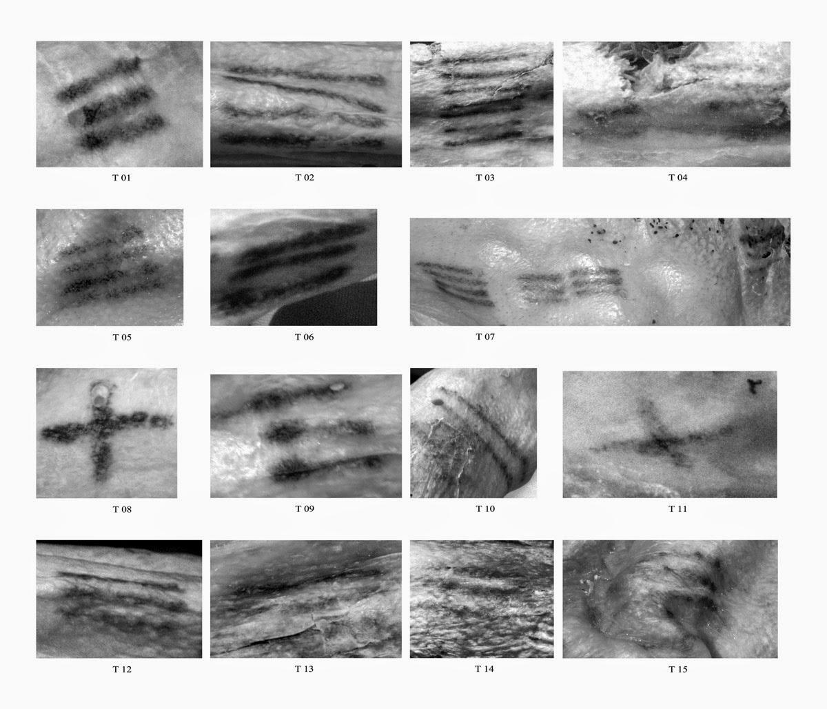 mappatura di tutti i tatuaggi presenti sul corpo dell'Iceman ötzi