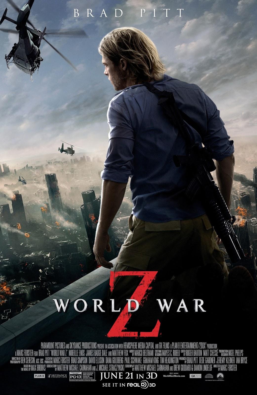 WORLD WAR Z Regular DOUBLE SIDED ORIGINAL MOVIE film POSTER Brad Pitt Zombies