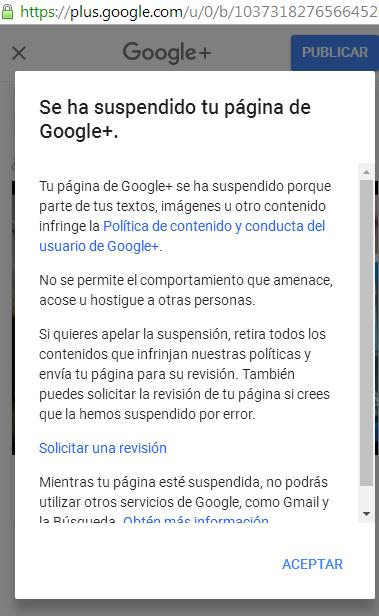 GOOGLE+ CENSURADO