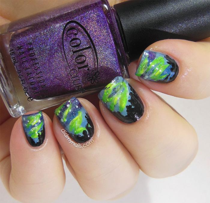aurora borealis nail art