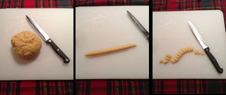 Step-by-step process of making struffoli, formed into a ball, then into ropes, then cut into 1/2 inch squares.