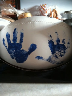 football handprints