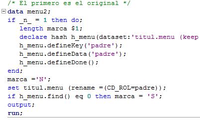 Código de creación de un hash