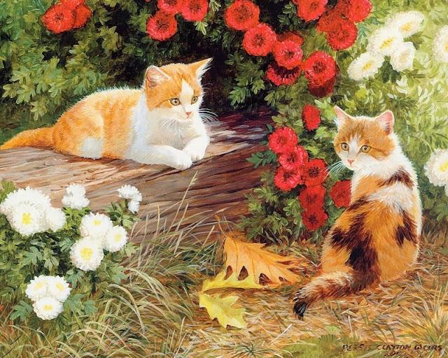 две кошки и брёвнышко