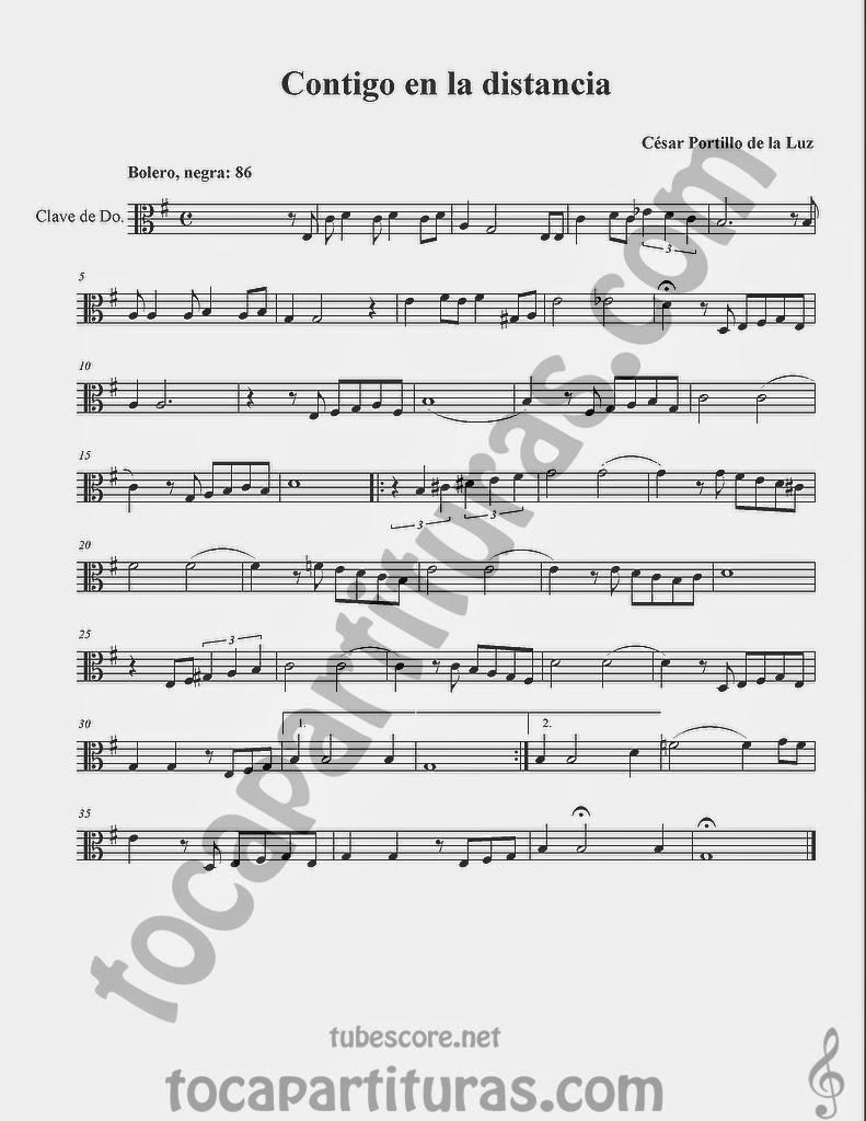 Contigo a la Distancia Partituras  en Clave de  Do para Viola y otros instrumentos en Clave de Do en 3º Línea…