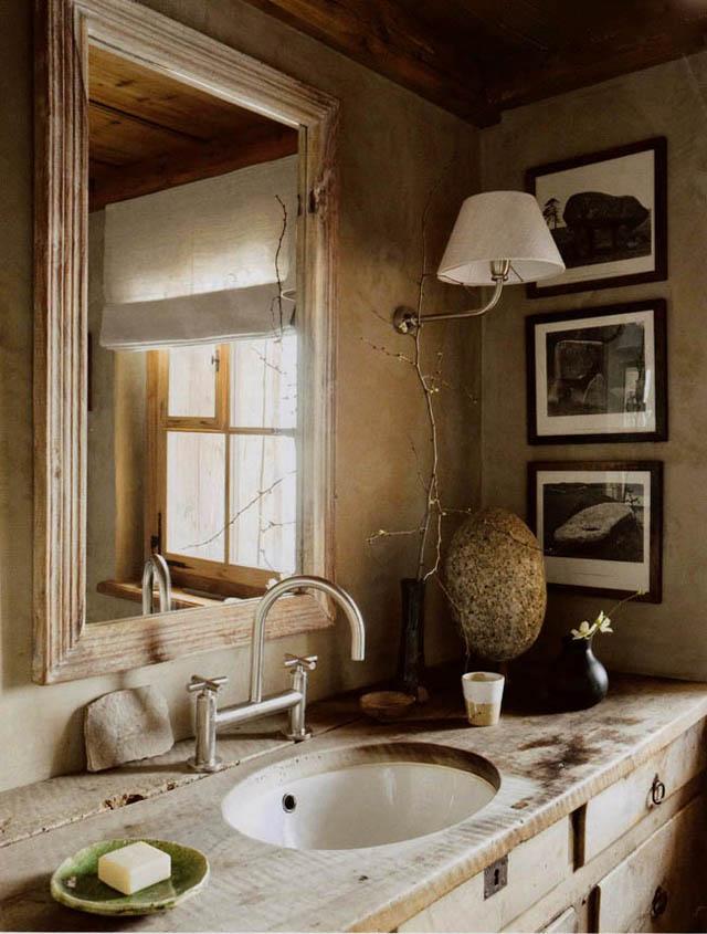 baños estilo rustico-brutalista madera natural casa montaña
