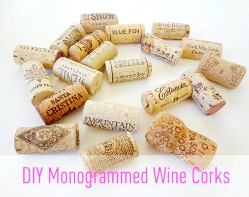 Diy monogrammed wine corks made by girl
