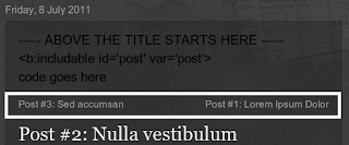 older posts and newer posts above blogger post title