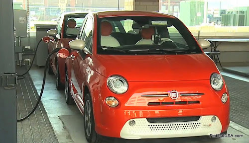 Fiat 500e being charged