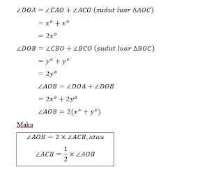 Contoh soal deduktif (Pada gambar ∠AOB adalah sudut pusat dan ∠ACB adalah sudut keliling. ∠AOB dan sudut ∠ACB menghadap busur yang sama yaitu busur AB.)