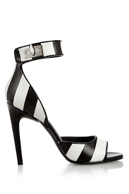 Givenchy black and white high heel barely there sandals
