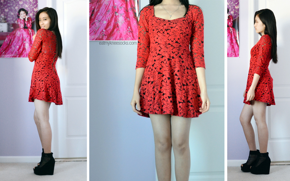 More photos of different angles wearing the red and black lace skater dress from Romwe.