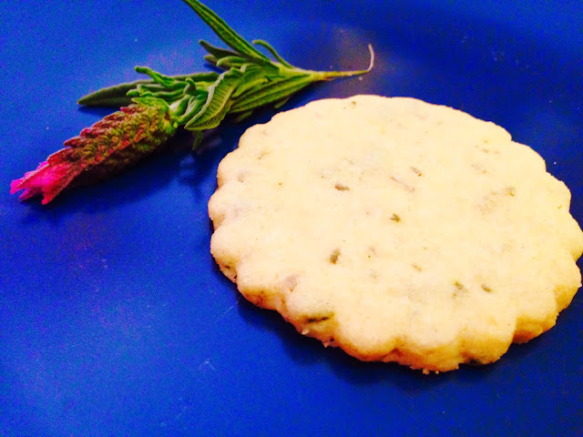 Lavender shortbread biscuit and a lavender flower