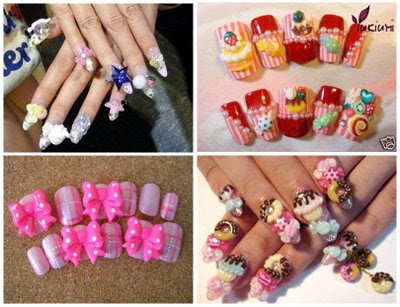 nail nailart 3dnailart arylicnail art kawaii japanese candy design cool best hello kitty candy tokyo - Nail Art