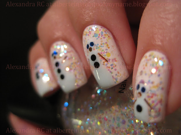 sparkly vernis snowman nails