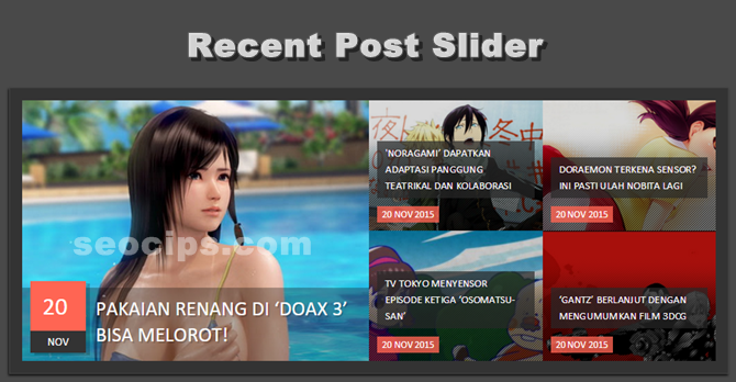 Cara Membuat Resposive Slider Recent Post Di Blog