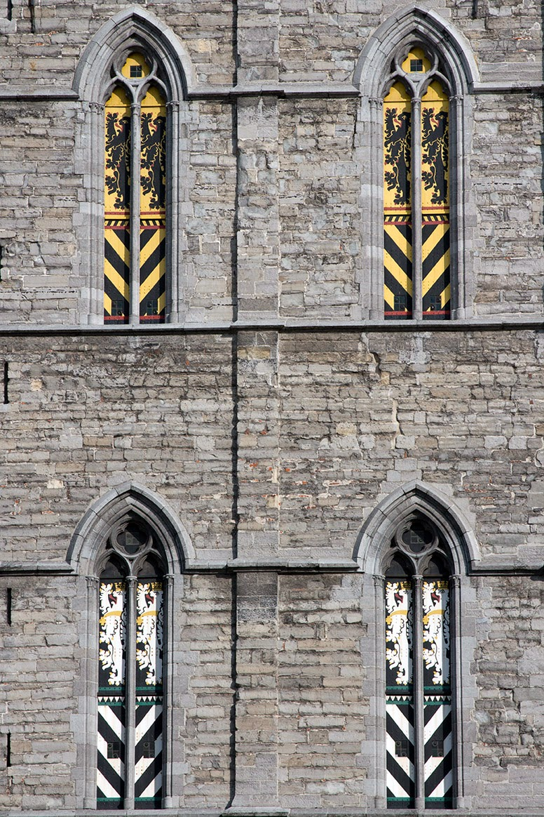 coat of arms in the windows of the Belfry