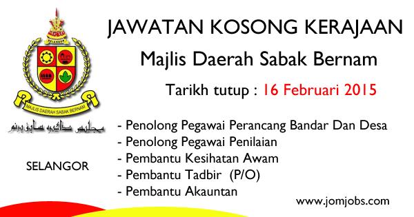 Jawatan Kosong Kerajaan Selangor - Majlis Daerah Sabah Bernam (MDSB) 2015