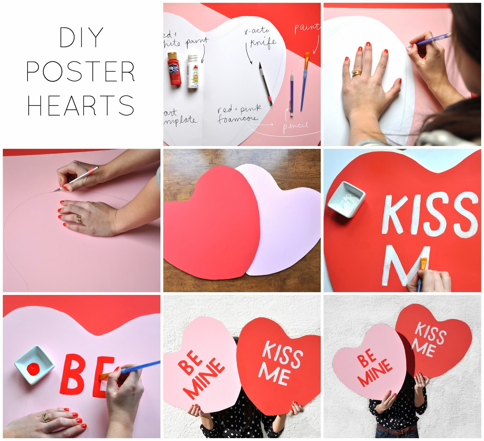 DIY conversation heart posters. - note to self