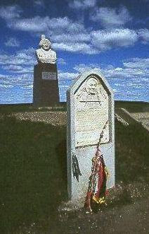 The monument to Chief Sitting Bull located near Fort Yates (Standing Rock Agency or Reservation) in North Dakota