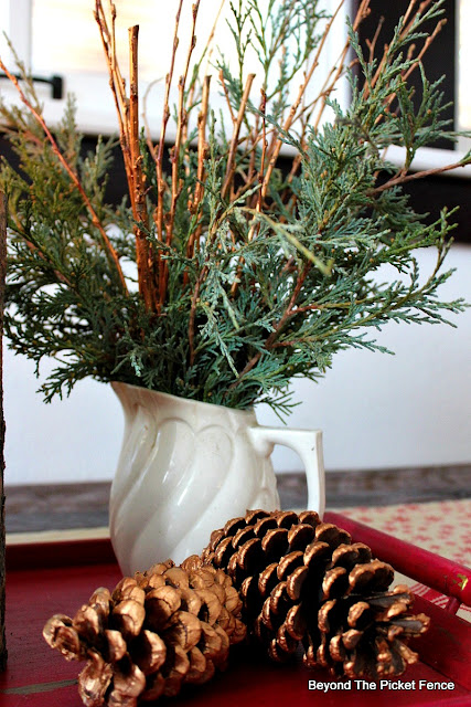 woodland, fusion mineral paint, branches, pinecones, DIY, centerpiece, Christmas, http://bec4-beyondthepicketfence.blogspot.com/2015/12/12-days-of-christmas-day-8-woodland.html