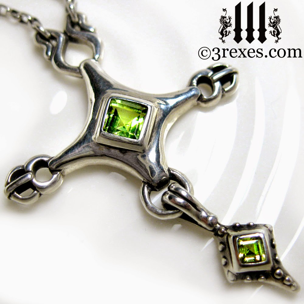 Royal Cross Necklace Gothic Silver Green Peridot