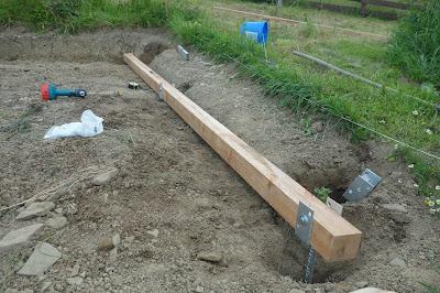 betonování patek - vyměření