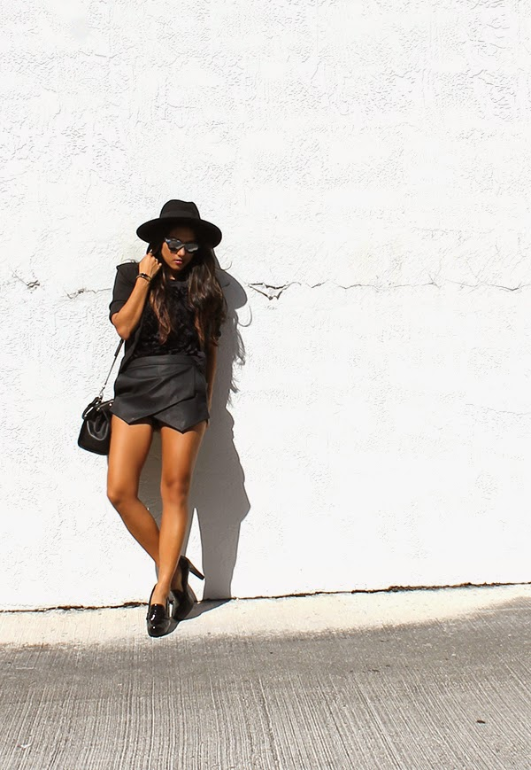 skort, express skirt, black leather skirt, mirrored sunglasses, italia independent sunglasses, asos fedora hat, kate spade bracelet, zara top, loafer heels me too, guess satchel bag, guess holiday collection, style by lynsee, fashion blogger, miami fashion blogger, new york fashion blogger, outfit of the day, style haul, blogger, popsugar fashion
