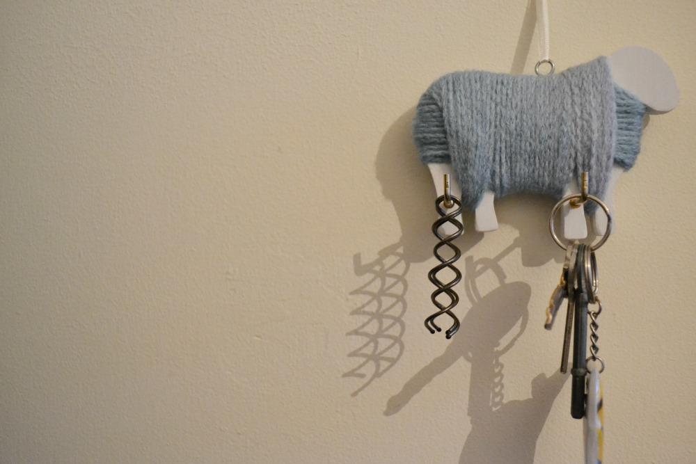 yarn covered sheep wall hook