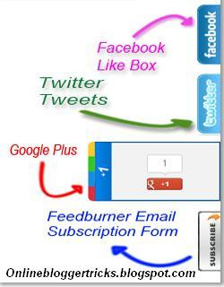 How to add 4 in 1 social subscribing slide out widget into blogger