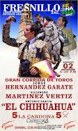 El Chihuahua, Vertiz y Garate, anunciados en Fresnillo, el 02/09.