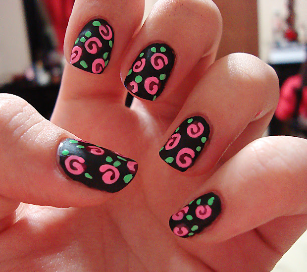 swirl neon roses nail art polished