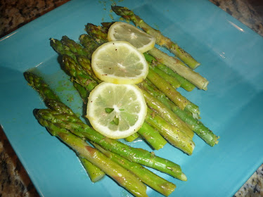 asparagus in lemon pepper and blood orange olive oil