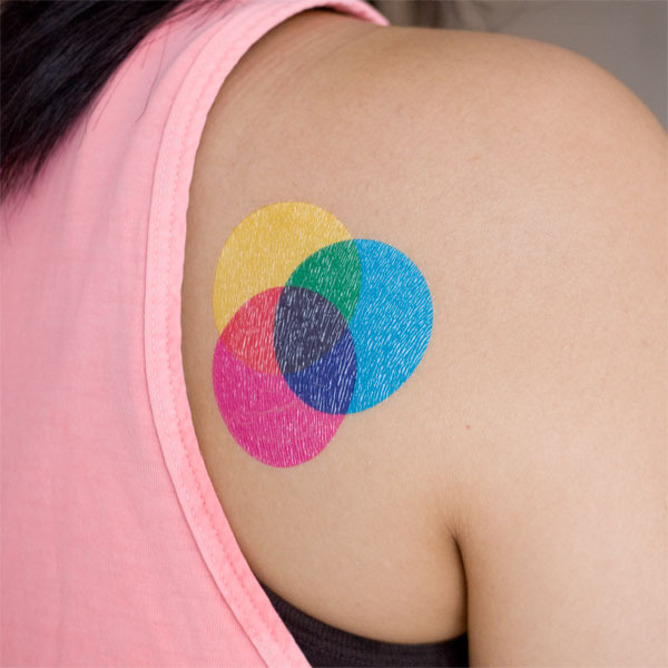 CMYK temporary tattoo on sale here Posted by John at 734 AM