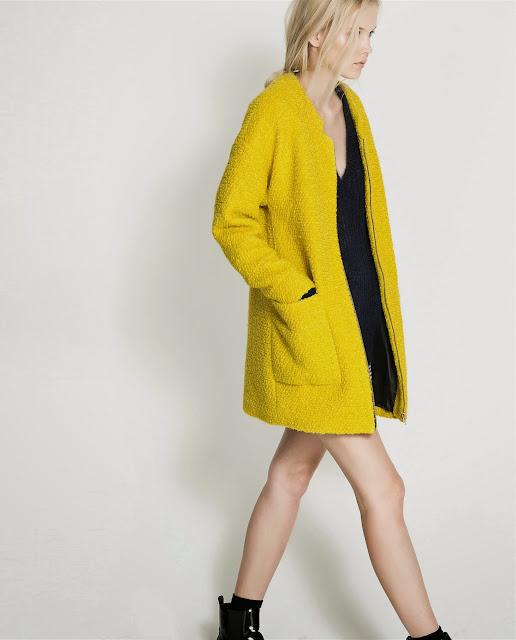 abrigo amarillo zara trafaluc