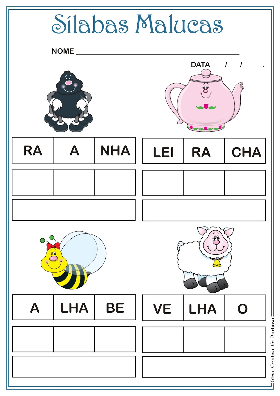 Atividade Alfabetização  Sílabas Malucas