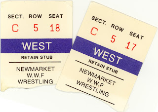 WWF wrestling ticket stubs from Newmarket Ontario in 1987 at the Newmarket Recreation Complex.