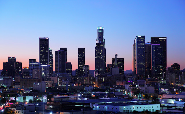 Close up photo of Downtown Los Angeles from the roof