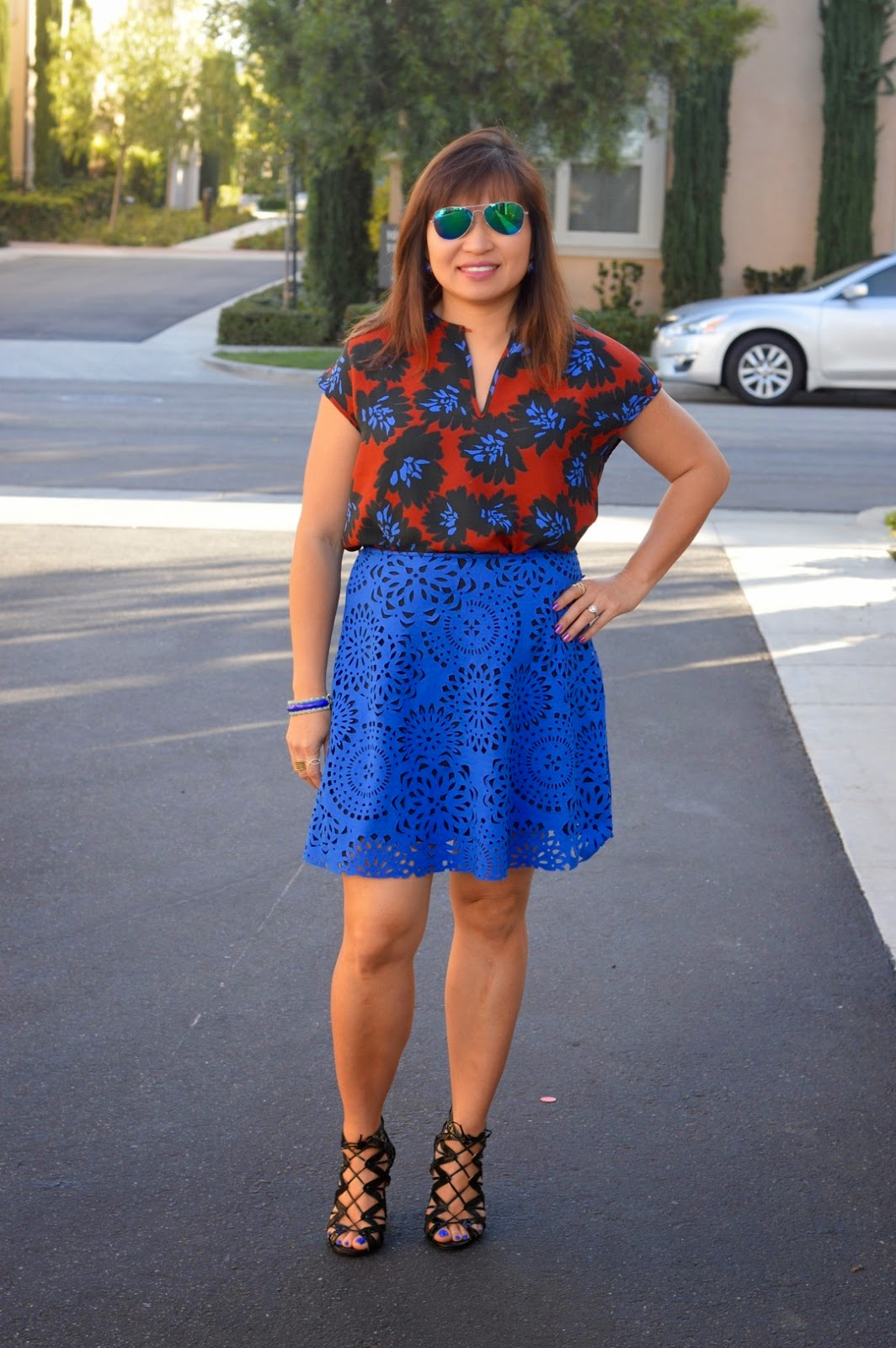 J Crew Floral Fireworks Top, Pattern Mixing, Fashion Over 40