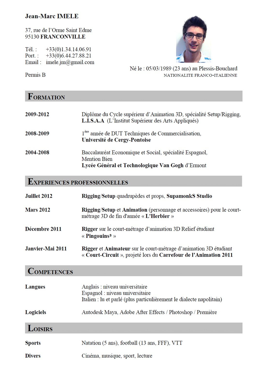 curriculum vitae  curriculum vitae en francais