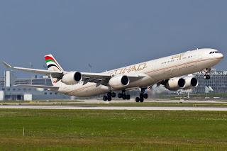 airbus a340-600 etihad airways takeoff, airbus a340-600 etihad, etihad airways, a340, a340-600