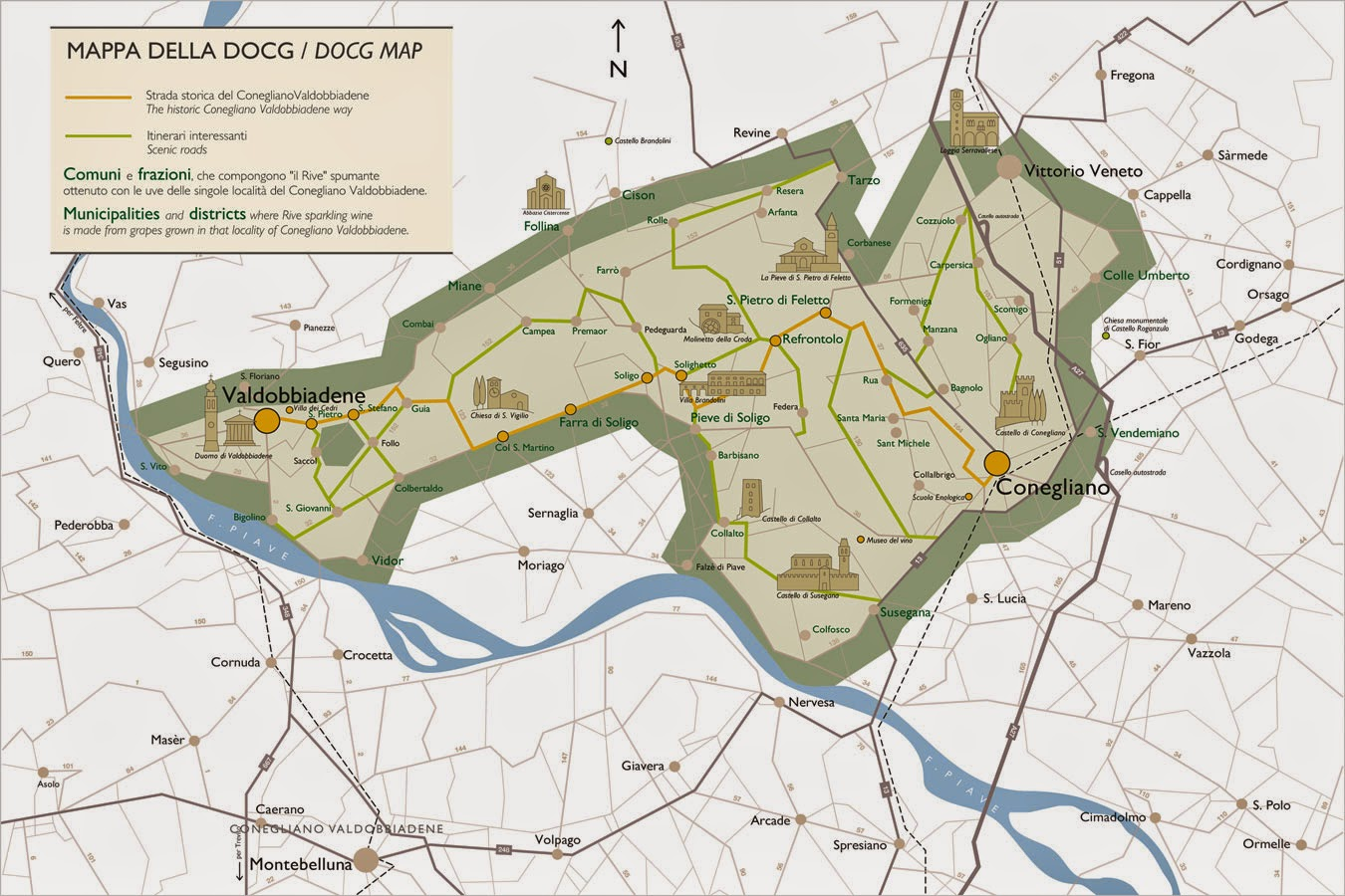 Valdobbiadene DOCG wine map