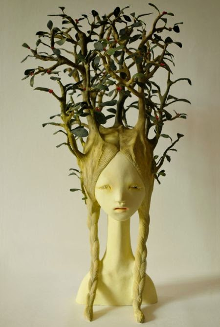 Yui Ishibari sculptures surreal disturbing children taken by plants bizarre nature