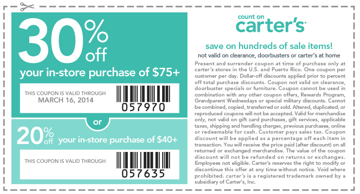 image relating to Carters Printable Coupons known as Carters Printable Discount codes September 2015