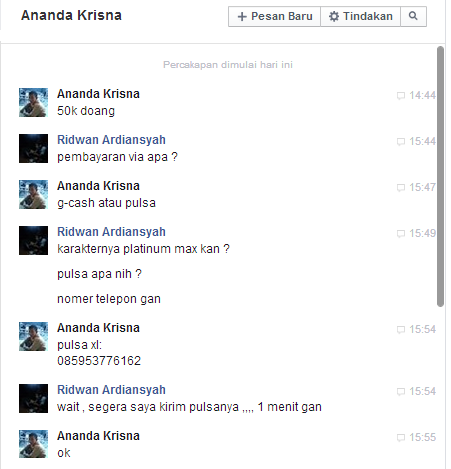 Ananda Krisna Penipu Game Online Chat FB