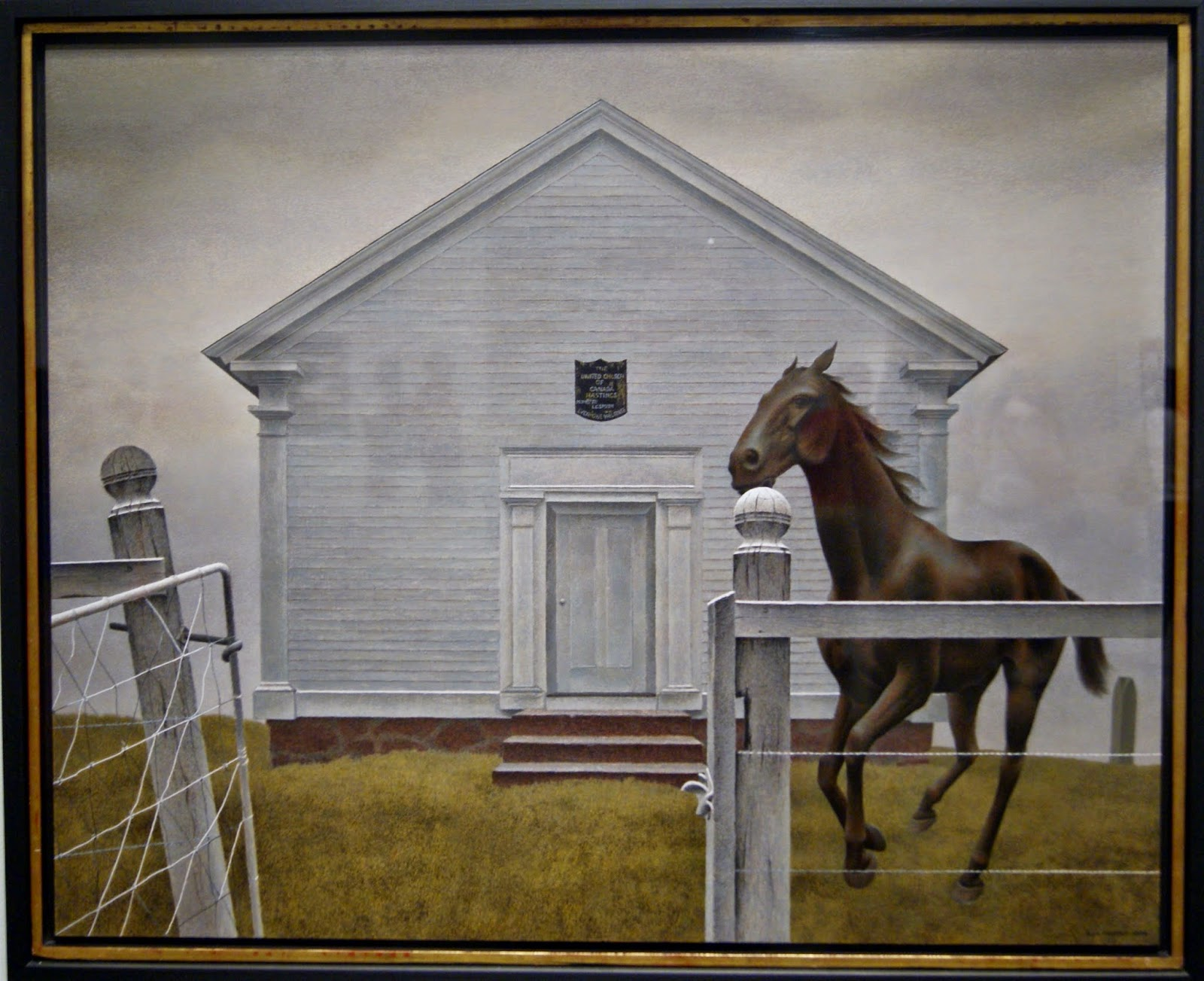 Alex Colville Exhibit at Art Gallery of Ontario in Toronto: Church and Horse, 1964, paintings, art, artmatters, culture,ontario, Canadian Artist, Painter, Canada